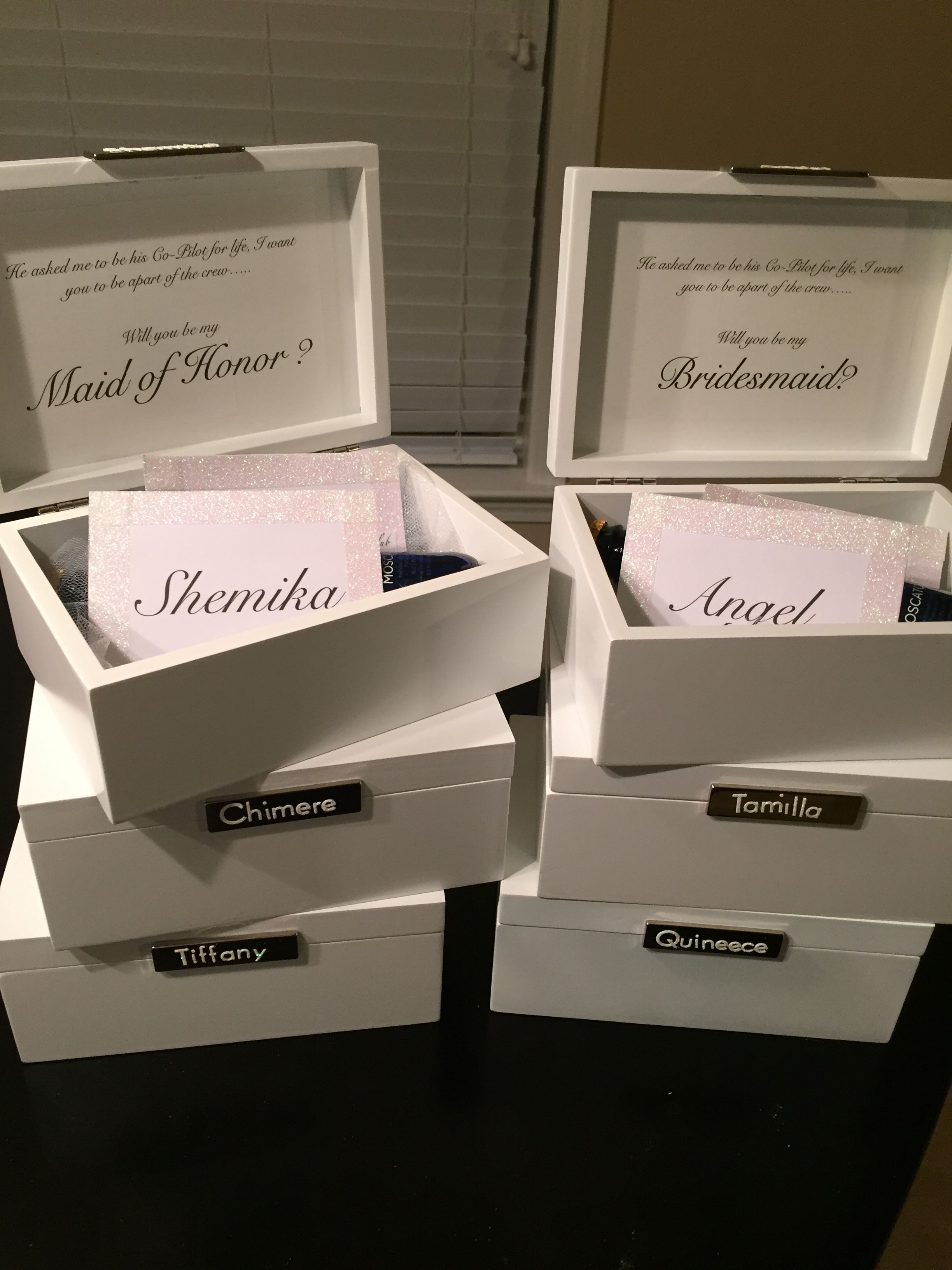 DIY Bridal Boxes for the bridesmaids and maid of honors...
