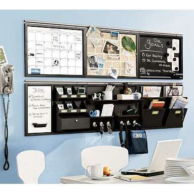 Home Organization Furniture don't use desk space when you can use wall space. keep everything