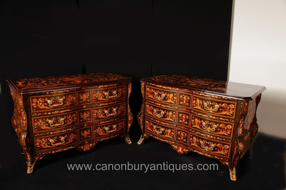 Pair Bombe Chests Drawers Dutch Marquetry Commodes