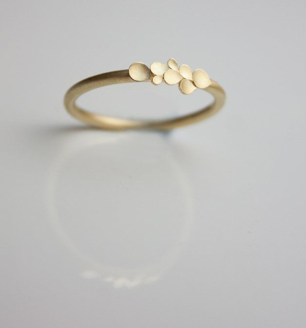 Lovely, delicate 18ct. yellow gold Ring, with a matt finish and burnished edges. Made to order, please indicate your desired ring-size when ordering.