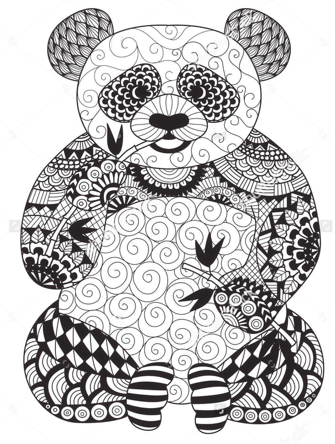 vector-zentangle-panda-coloring-page  Panda coloring pages