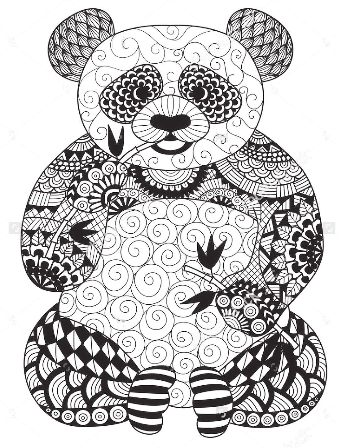 Vector Zentangle Panda Coloring Page With Images Panda