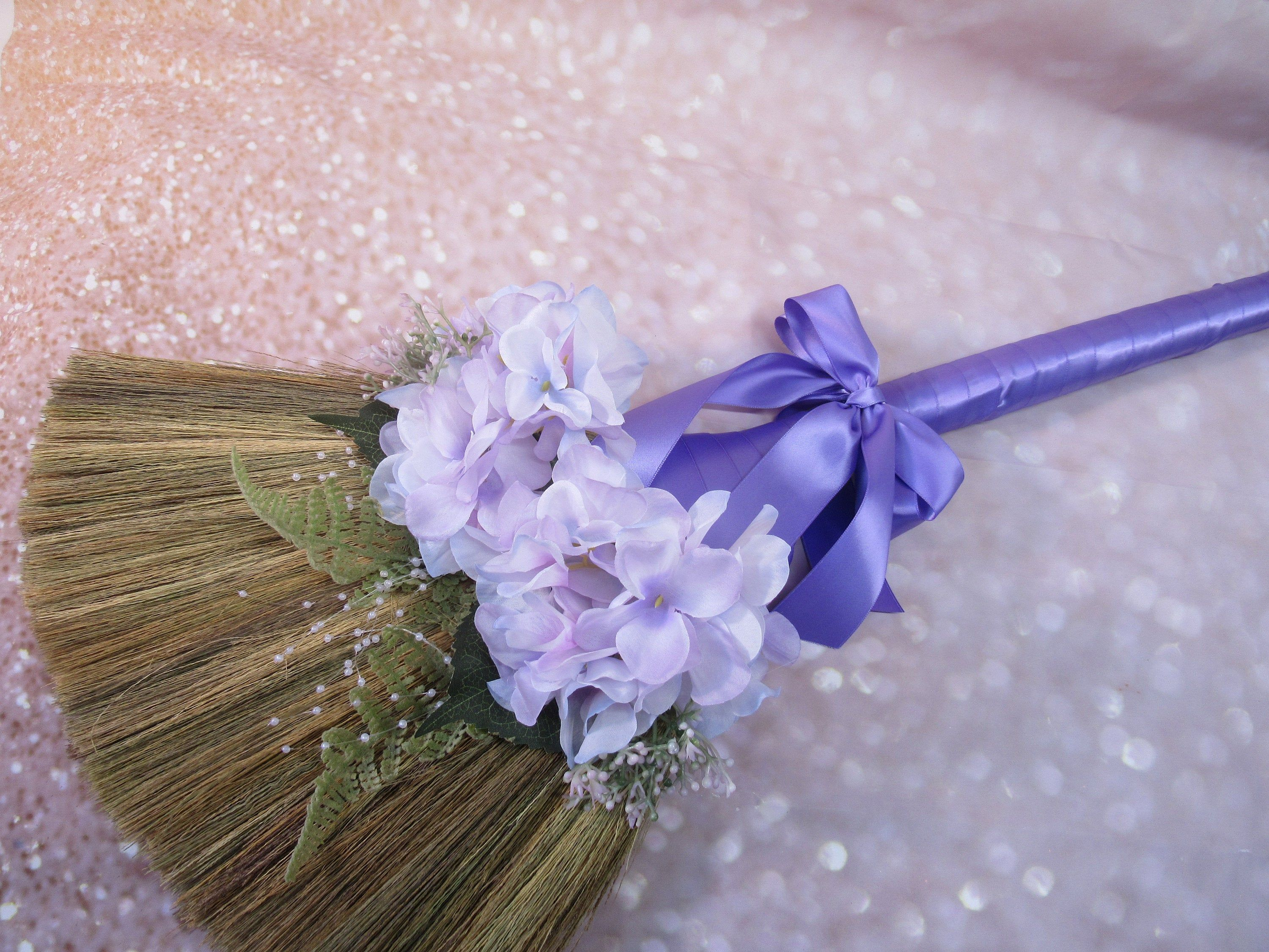 Decorated Jump Broom With Hydrangea Flowers For Jumping The Broom Ceremony Light Purple Ribbon Please Read Ad For Details In 2020 With Images Hydrangea Flower Purple Ribbon Light Purple Flowers