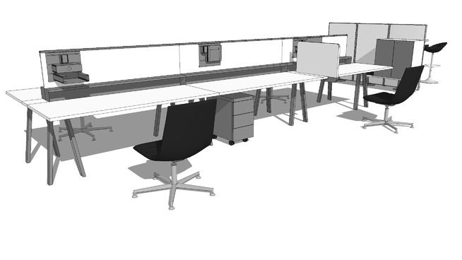 Meco Bench Composition 001 Skuba 3d Warehouse Office Table Desk Dividers Furniture