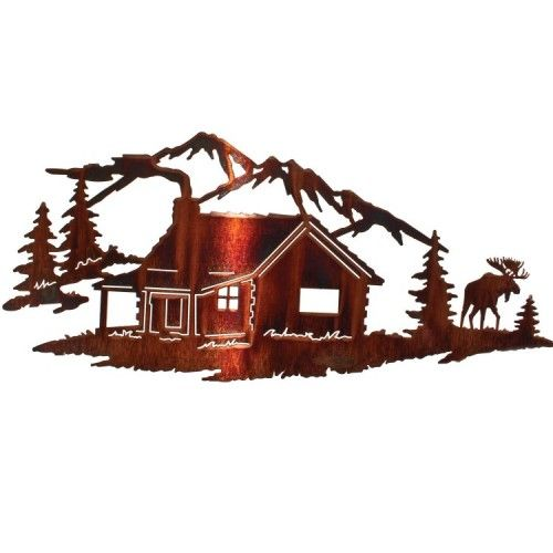 Night Moose Cabin Metal Wall Art