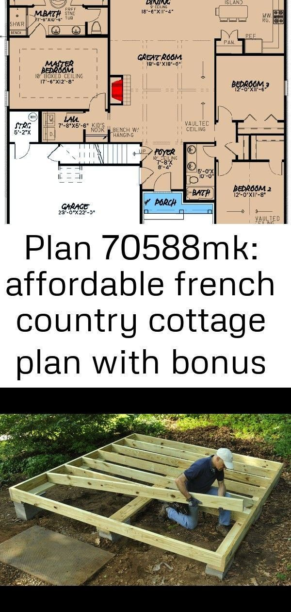 French Country Cottage Plan with Bonus Over Garage  70588MK  Architectural Designs  House Plans Shed Floor Frame of pressure treated lumber Striking Contemporary Farmhous...