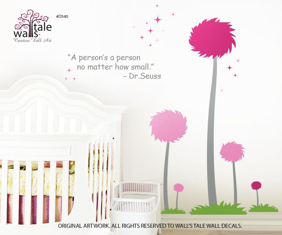 Colorful Pom pom trees wall decal for a playroom, baby ...