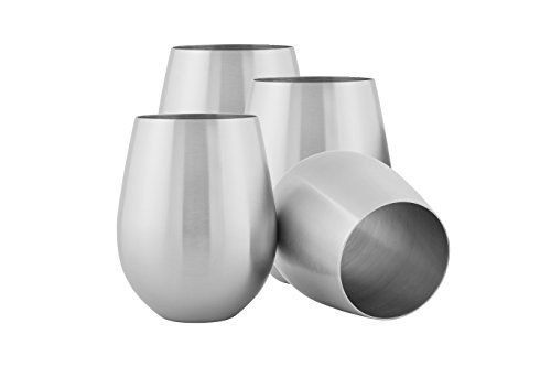 Bar Tools  Glasses  HomeLife Solutions Stainless 18 oz Steel Stemless Wine Glass Pack of 4 *** You can find out more details at the link of the image.