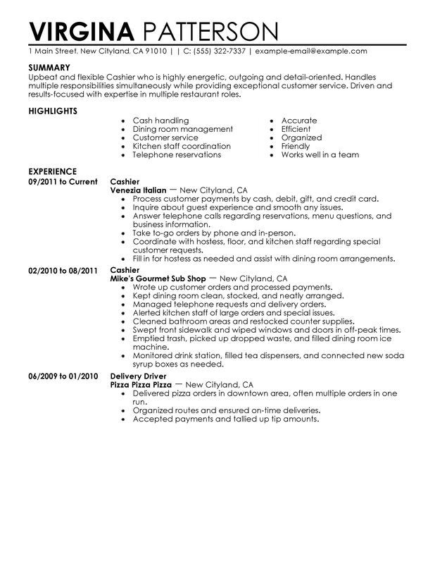 Resume Examples For Cashier Resume Examples Pinterest Sample - Examples Of Resumes For Restaurant Jobs