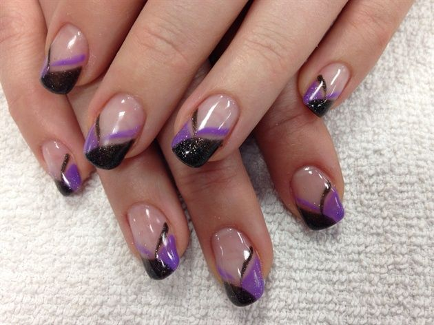 Sparkly Purple And Black By Creativeedge Nail Art Gallery