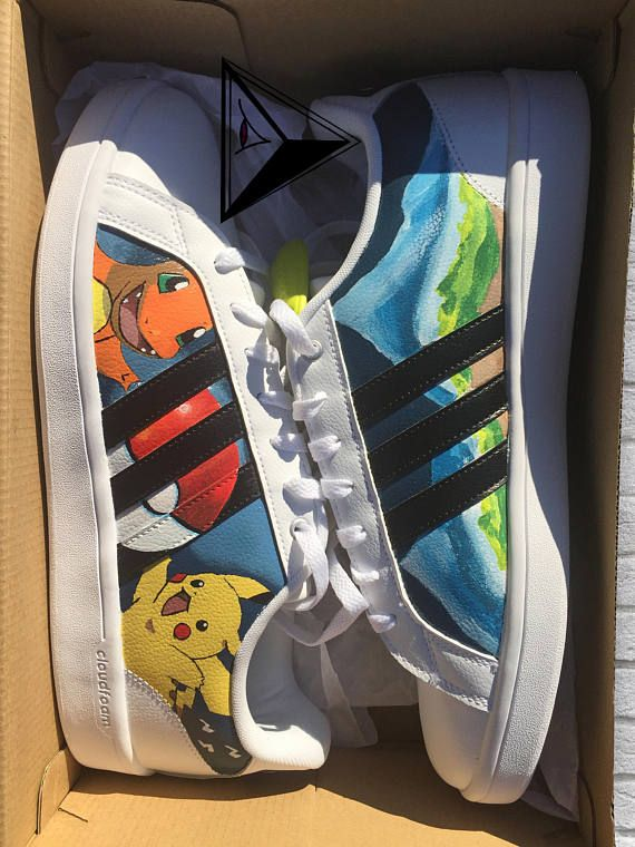 ed9f7a2d4 Starter Pokemon Custom Adidas Neo Cloudfoam Shoes | Pikachu | Adidas Shoes  | Anime Gifts | Pokemon C