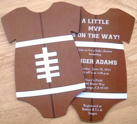 Football Onesie Baby Shower Invitations Front And Back Print U2013 Keepsake  Imprints Online Store