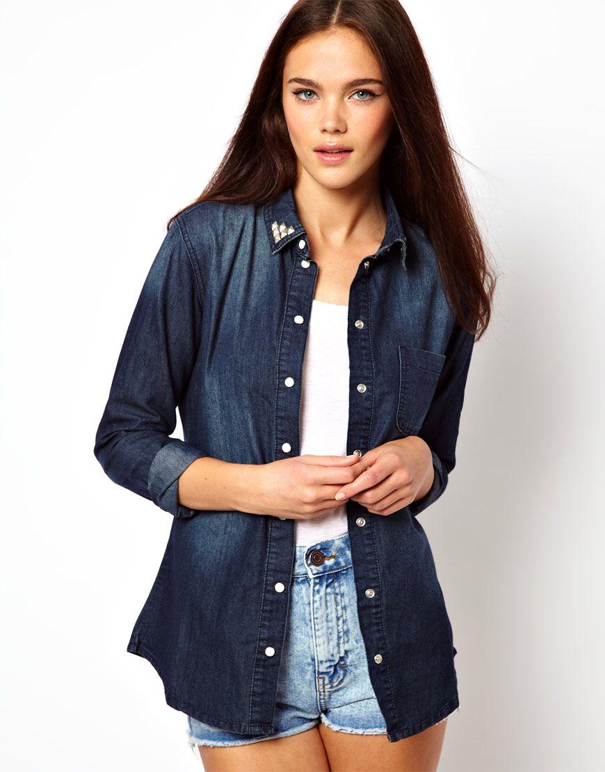 glamorous chemise en jean col clout chemise pour femme. Black Bedroom Furniture Sets. Home Design Ideas