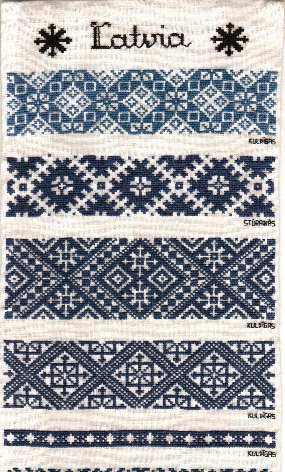 Lettische Stickmuster in blau | Moroccan Terz | Pinterest ...