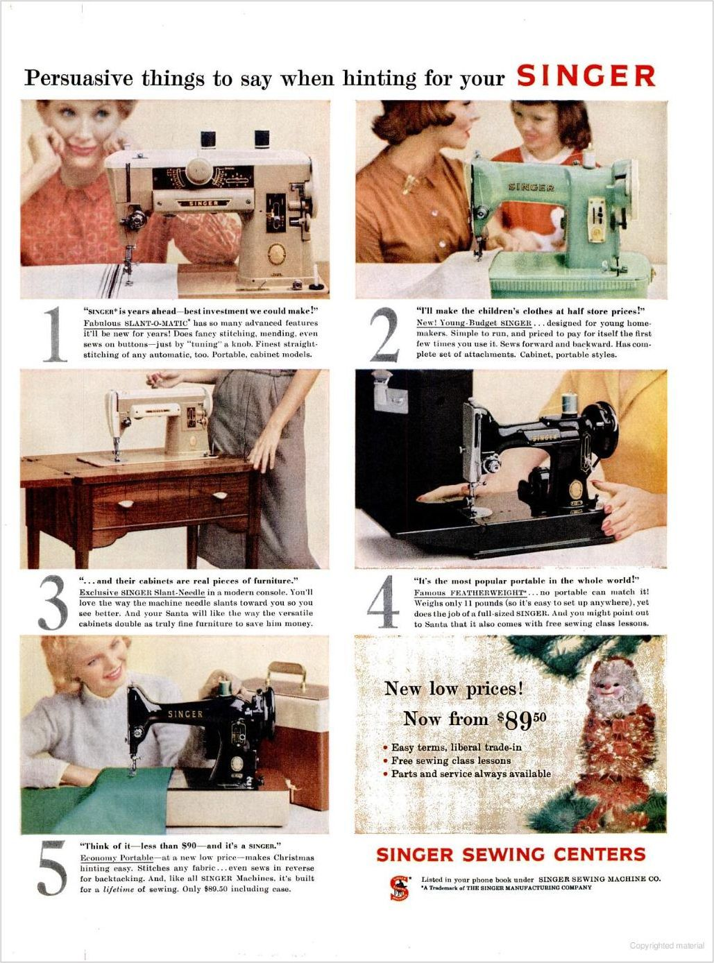 Vintage Singer sewing machine ads from the 1940s, 1950s, and 1960s.