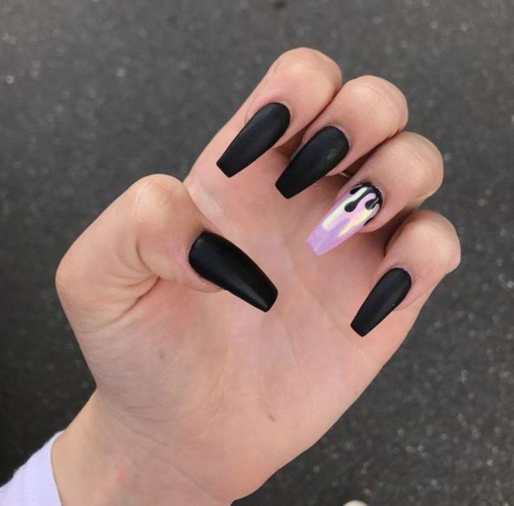 Matte Black Coffin Nails By Lorena Black Coffin Nails Matte Black Nails Coffin Nails Matte