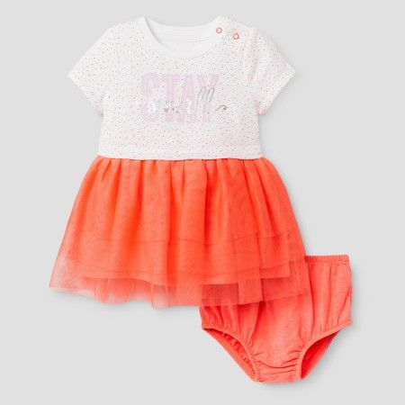 Target Baby Girl Clothes Baby Girls' Tshirt Tutu Aline Dress Cat & Jack™  Sunrise Coral
