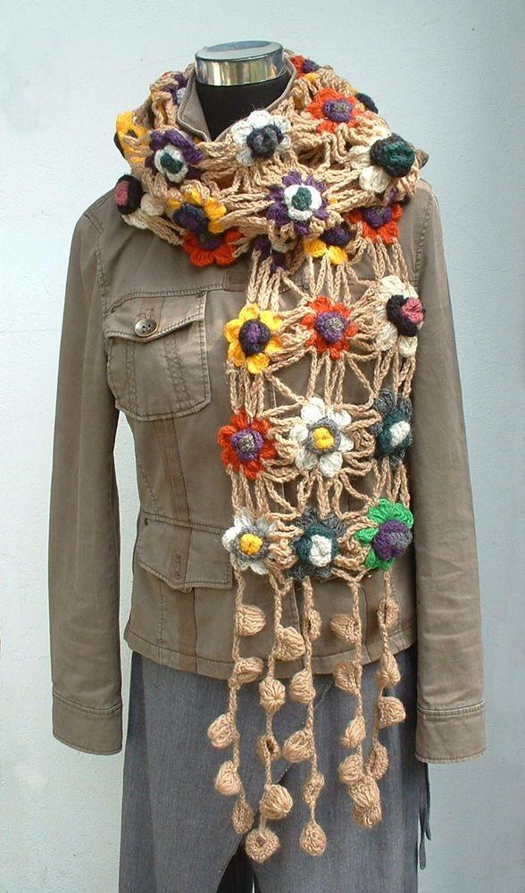 ♥ Blüten Häkel Schal ♥ NEPAL 100% Wolle TRAUMTEIL! Netzoptik ...