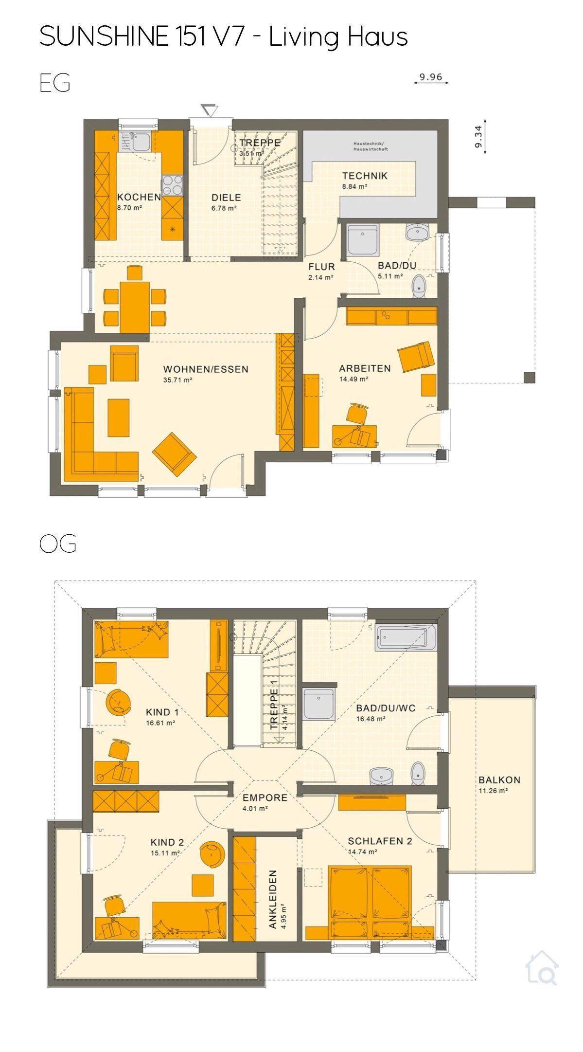 Grundriss Stadtvilla mit Walmdach 5 Zimmer, 150 qm, 3