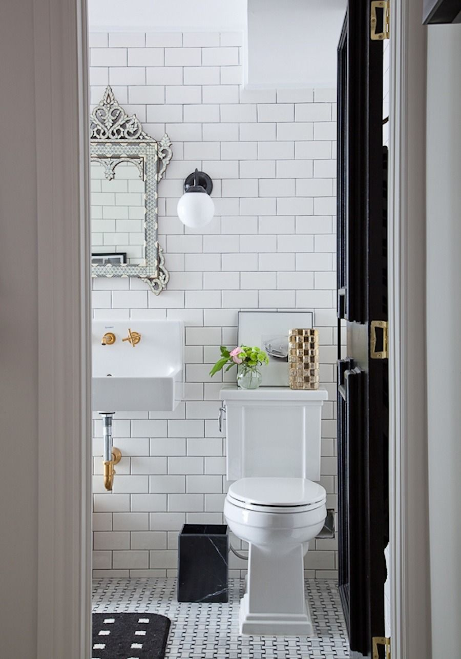 Change color of bathroom tile - White Subway Tile Bathroom With Black And Gold Accents Love This Look Easy To Change Accent Color With Basic White Subway Tiles