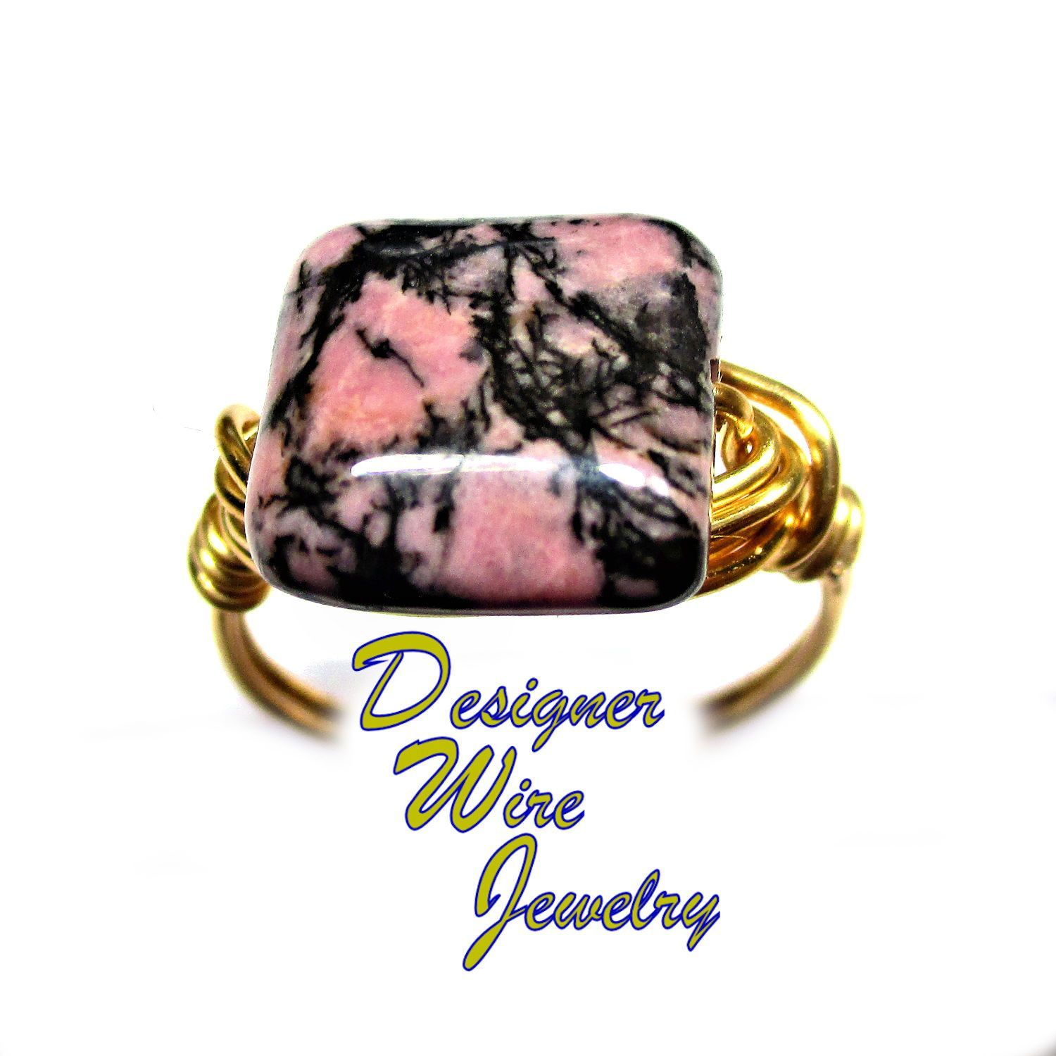 DWJ0671 Lovely Pink & Black Rhodonite Gemstone Gold Wire Wrapped Ring All Sizes