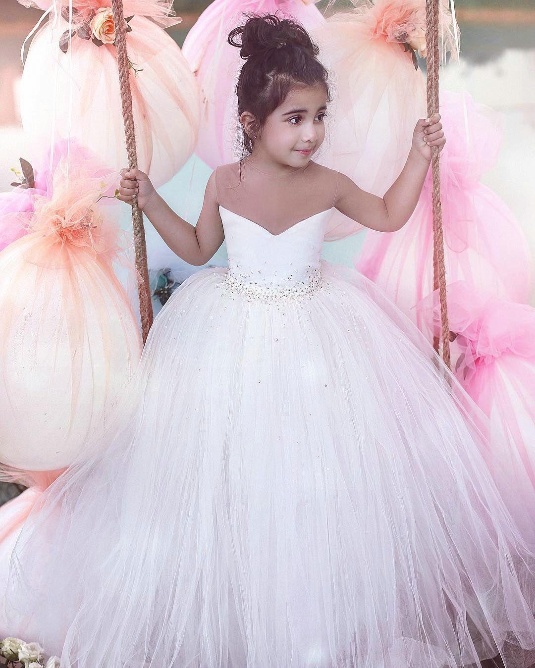 Flower girl dresses white tulle first communion dresses omg