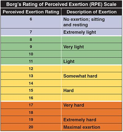 Borg S Rating Of Perceived Exertion Rpe Scale Showing No Exertion