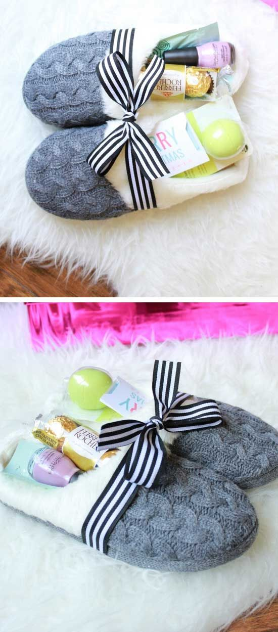 Cozy Slippers Gift Basket | DIY Christmas Gifts for Family | Easy to Make  Christmas Gifts for Friends - 44+ Easy Christmas Gifts To Make For Family And Friends DIY