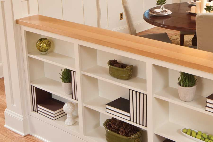 half wall built in shelves - between dining room and ...