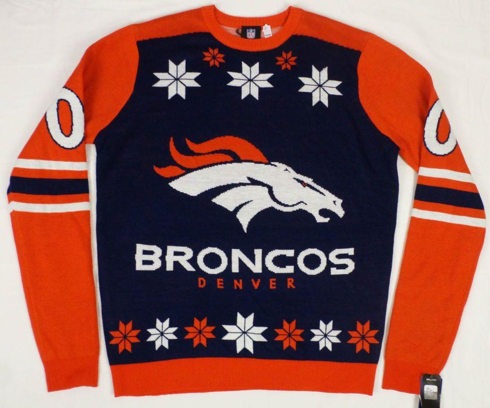 NFL Team Apparel Football Denver Broncos Ugly Christmas Sweater NEW NWT XL #NFLTeamApparel #Crewneck