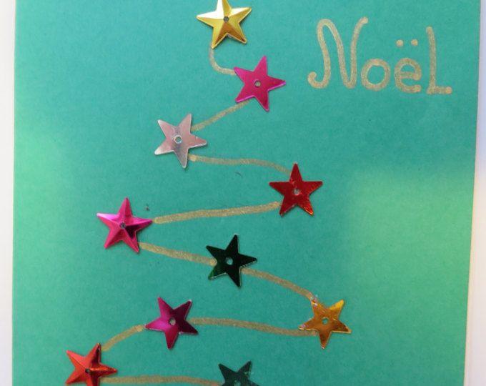 Carte de Noël verte sapin de Noël étoiles multicolores métalliques