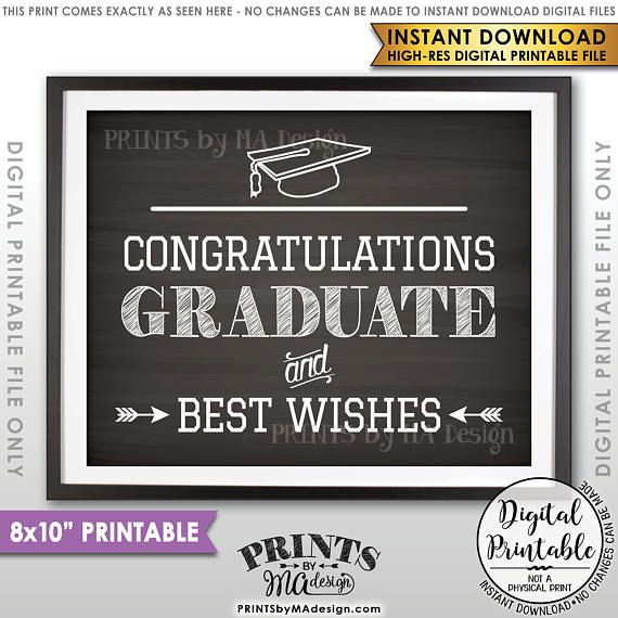 graduation sign graduate sign congratulations graduate best