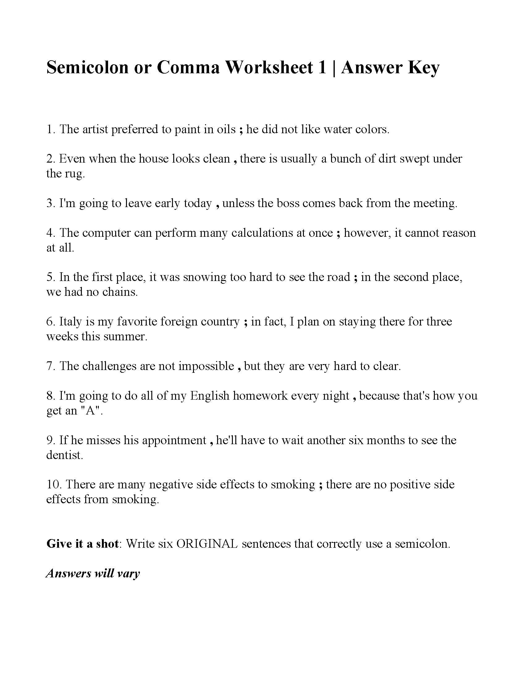 Commas And Semicolons Worksheet Em 2020