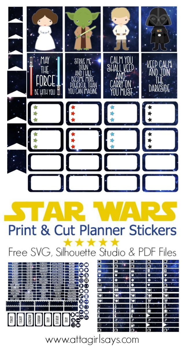 Cut print star wars stickers for your planner atta girl says