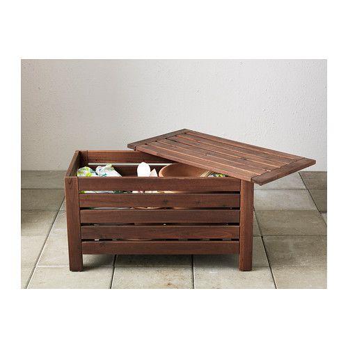 äPPLARÖ Bänk med förvaring, utomhus, brun brunlaserad Ikea och Utomhus