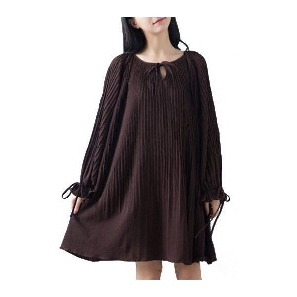Rotita Chocolate Round Neck Long Sleeve Shift Dress (49 CAD) ❤ liked on Polyvore featuring dresses, chocolate, sleeved dresses, long sleeve print dress, mini shift dress, long-sleeve shift dresses and purple dress
