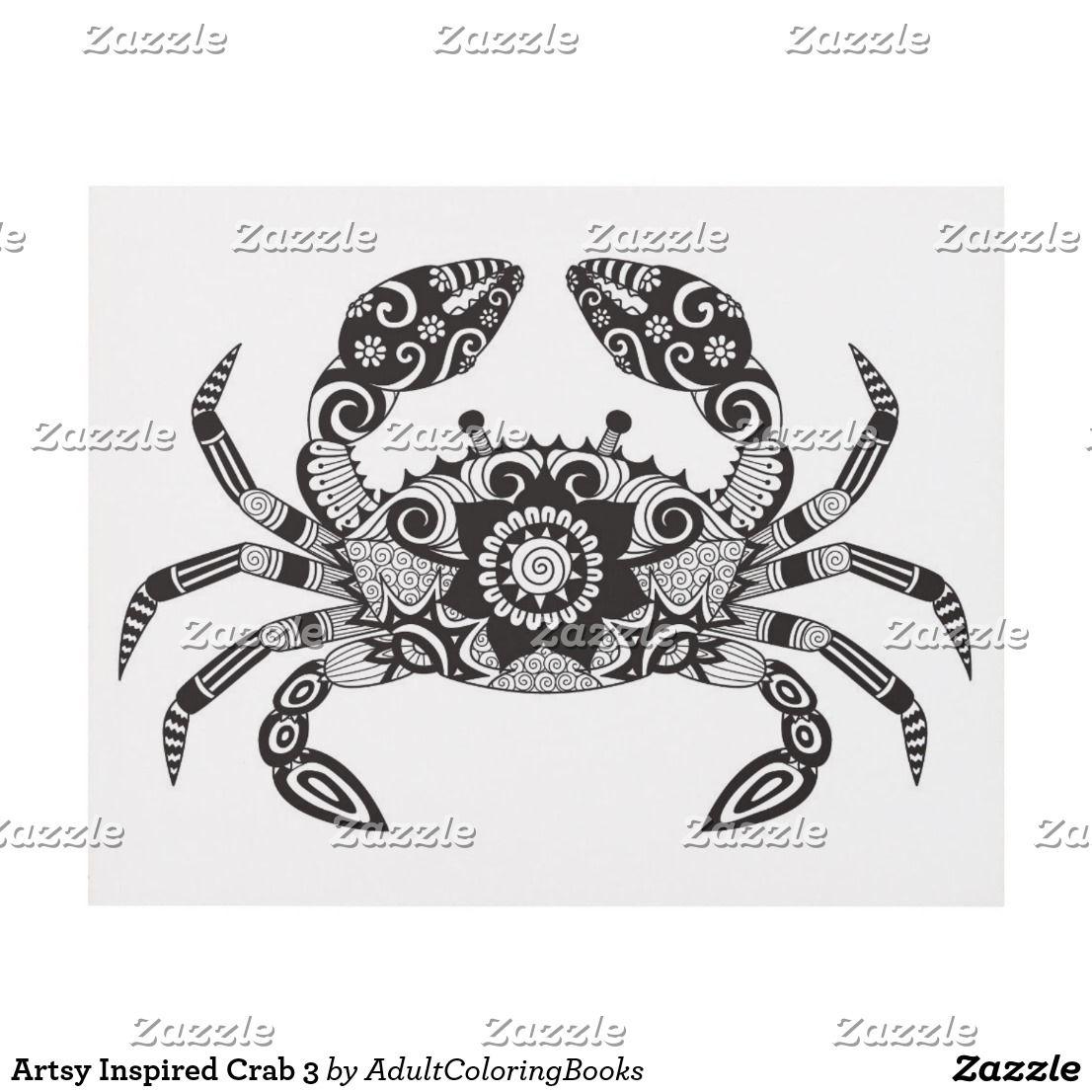Artsy Inspired Crab 3 Panel Wall Art Pyrography patterns