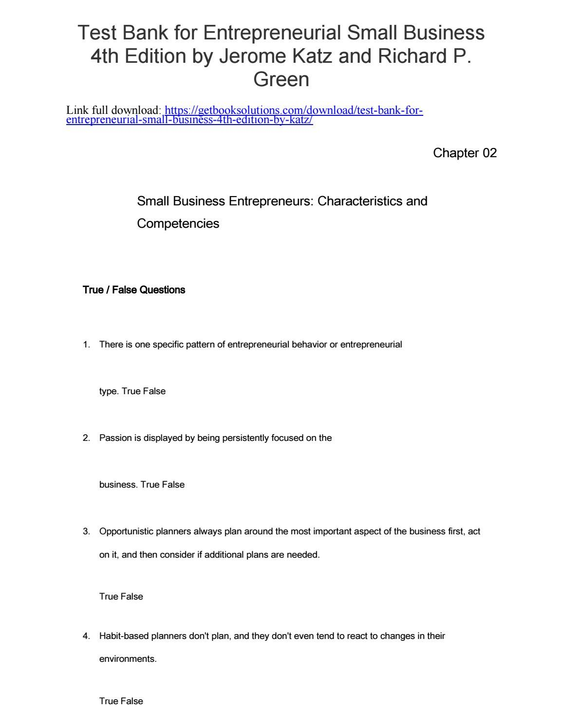 Test bank entrepreneurial small business 4th edition katz fandeluxe Gallery