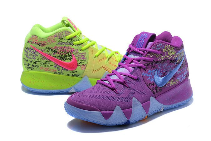 pretty nice 692df 0cb05 Mens Original Nike Kyrie 4 Confetti Purple Yellow Basketball Shoes