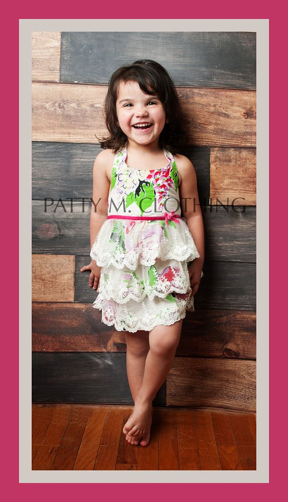 2yr photos!!--Halter top floral dress with lace ruffles all the way down dress! So sweet and sure to make any photography shoot a success!!