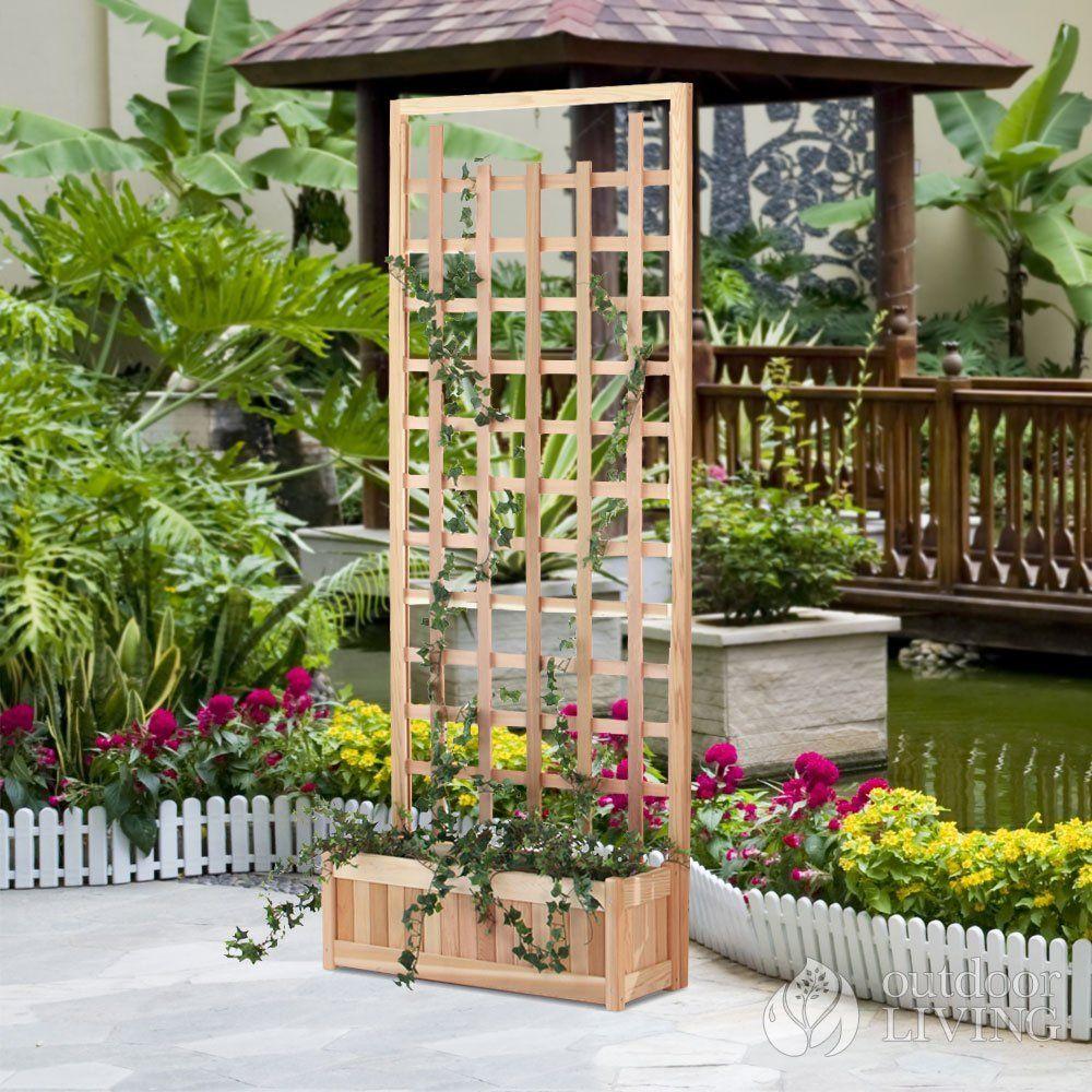 planter with trellis for patio divider Planter trellis