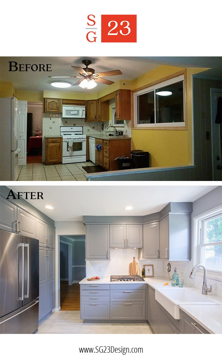 Before and after of a kitchen transformation in Cherry