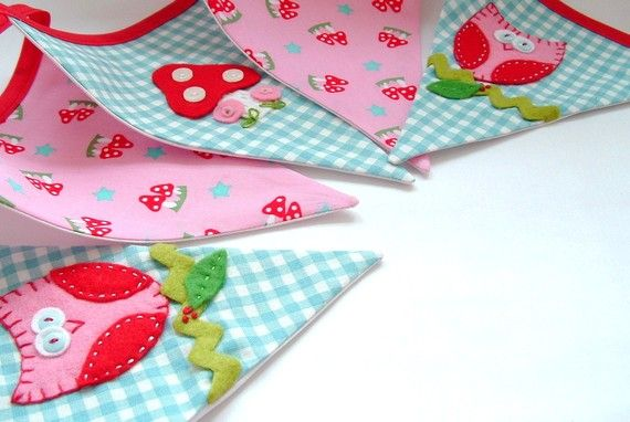 Whimsical Hand Appliqued Bunting - IT'S A HOOT in Aqua, Pink and Red. $42.50, via Etsy.