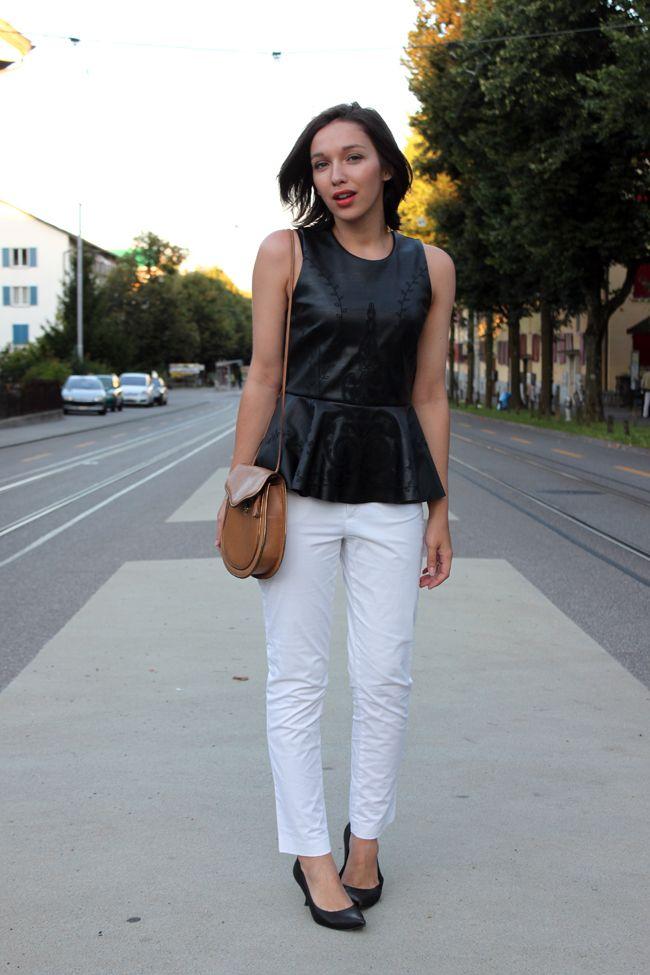 New embroidered Zara peplum top, white pants & vintage mini bag ...