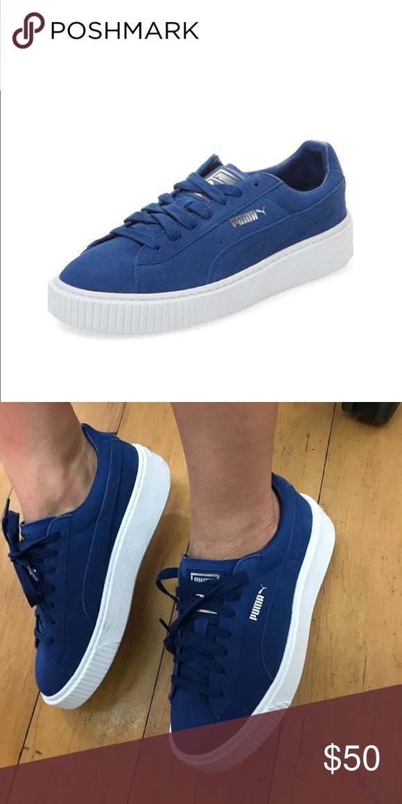 Puma Suede platform Puma sneakers in royal blue. Women s 8.5 fe1d62c66e