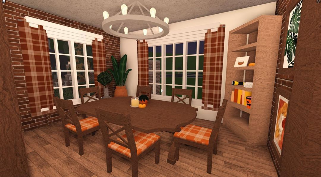 Issy Bloxburg Builder On Instagram Simple Autumn Dining Room Sorry It Isn T Decorated Much I Don T Have Many Halloween Items Roblox Bloxburg Bloxb In 2020