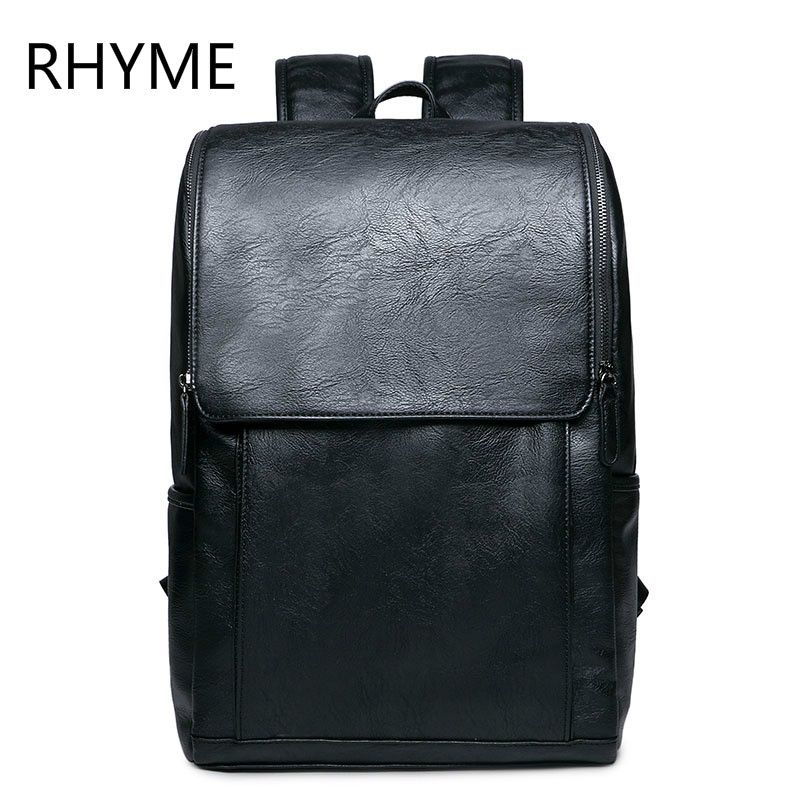 8f695b05a7 RHYME Pu Leather Man Backpack Male New Style Junior Middle School Students  Leisure Travel Backpack Free