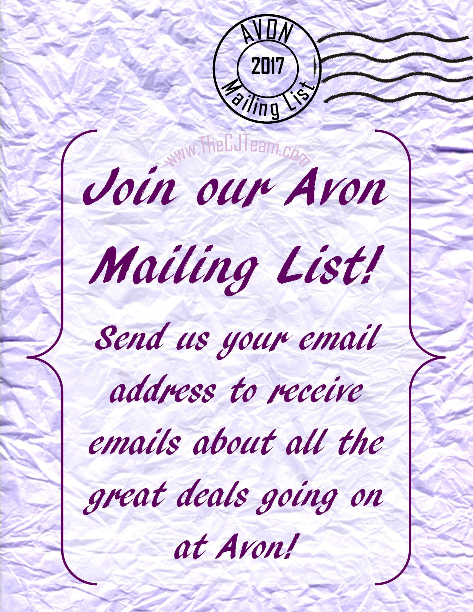 want to stay in the loop with avon sign up for my list to receive