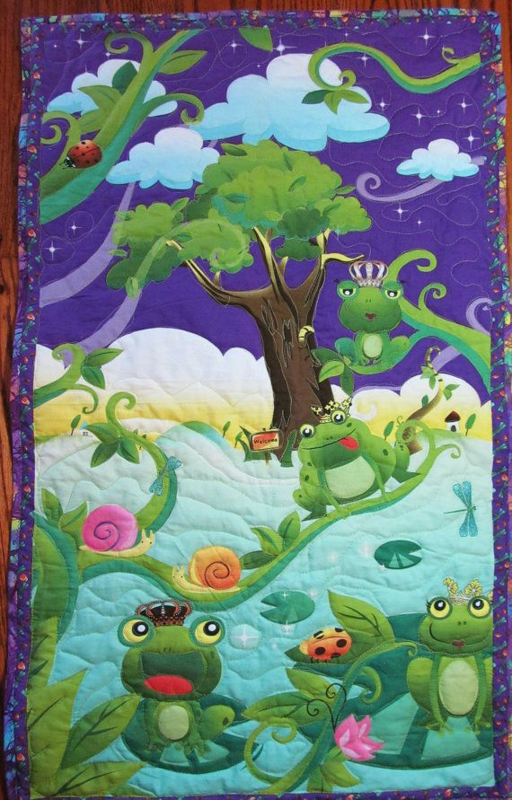 Baby Quilt 24 Quot X42 Quot Quilted Panel Frog Prince Princess