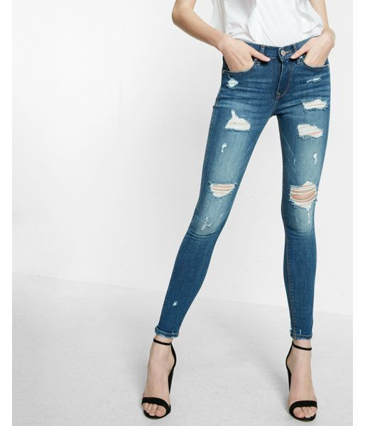 343bbcad48608 Petite Mid Rise Dark Wash Distressed Jean Legging by Express $88.00 ...
